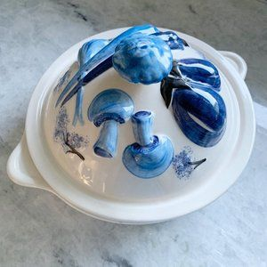 Vintage Blue Mushroom Vegetable Round Covered Dish
